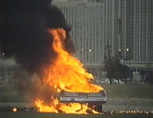 Miami Golem   Miami Golem car fire1 300x231 sci fi reviews horror action